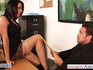 Slutty accountant Rachel Starr seduces young and alluring boss Johnny Castle