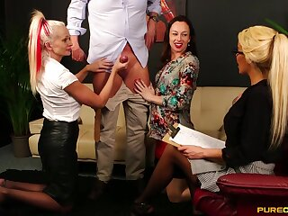 CFNM video of Alice Judge and Cindy Sun sucking a naked man's learn of